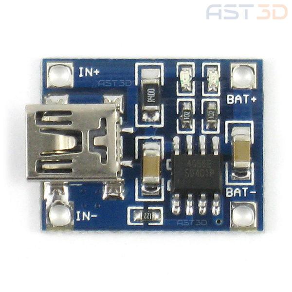 Модуль зяряда Li-Ion аккумуляторов 1А (Mini-USB)