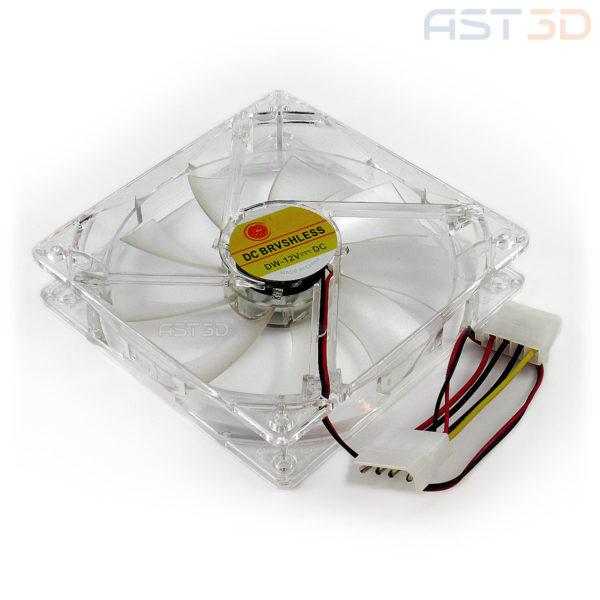Вентилятор 80 мм 12В (80х80х25мм), прозрачный неон