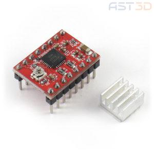 Драйвер шагового двигателя A4988 с радиатором (ЧПУ, 3D принтер)