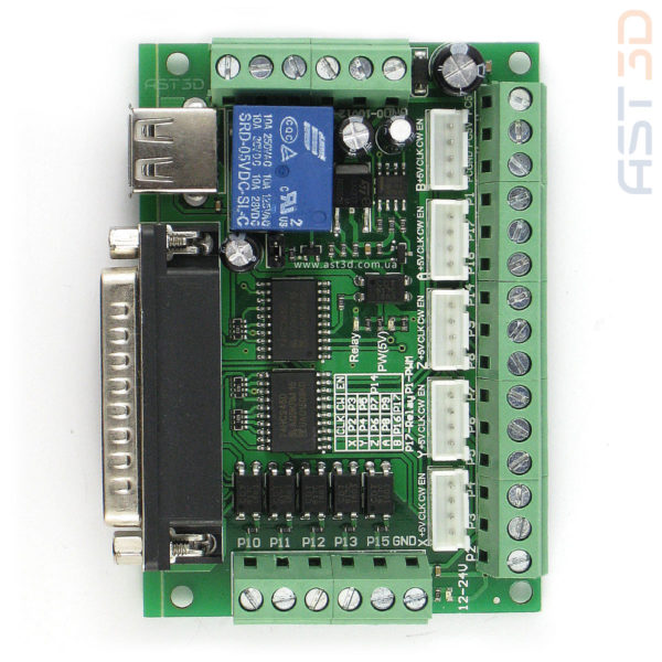 Контроллер ЧПУ 5 осей, плата управления MACH3 LPT (зеленая) купить в Украине