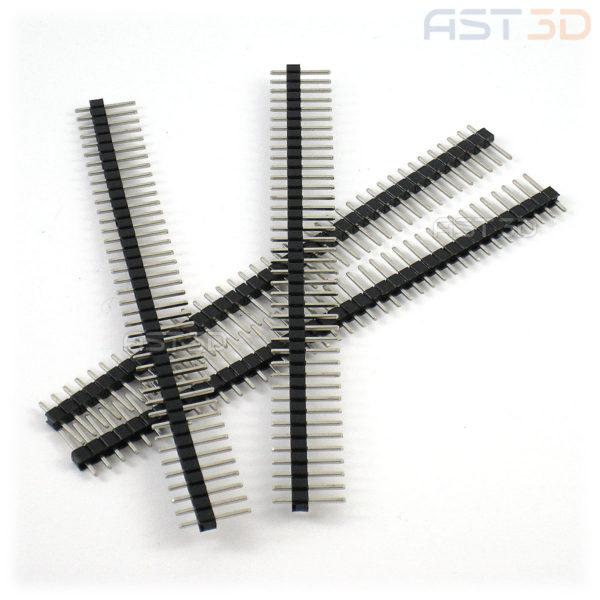 Разъем штекер 2,54 мм папа, в плату электроники, 40pin (полоска)