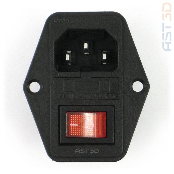 Разъем питания IEC320 C14 3pin-Папа с выключателем (в корпус на винтах)