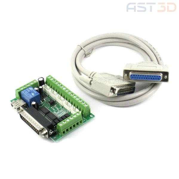 Контроллер ЧПУ 5 осей, плата управления MACH3 с кабелем LPT