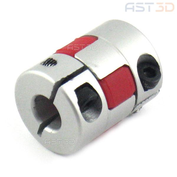 Кулачковая муфта на вал шагового двигателя 5/6,35/8/10/12 мм D20xL25 (гибкая муфта, прорезиненная)