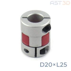 Кулачковая муфта D20xL25 – 5/6/6,35/7/8/9/10 мм (гибкая муфта ШД, прорезиненная)