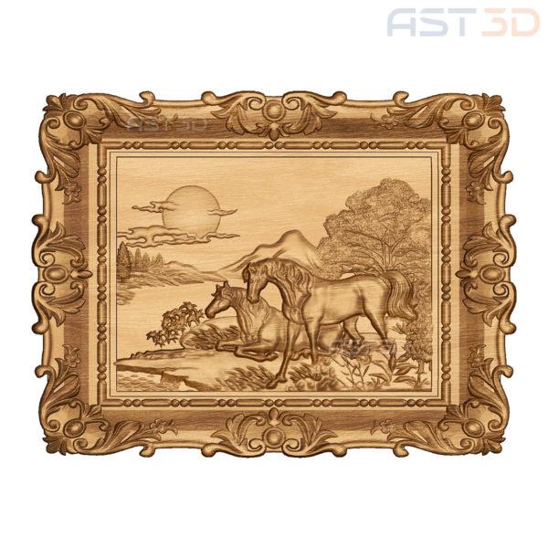 """3D Модель ЧПУ """"Лошади у реки"""" (картина)"""