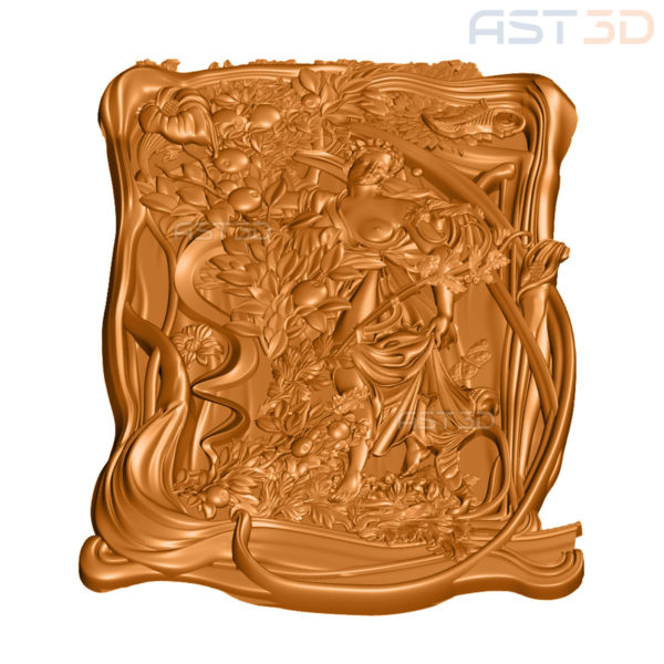 """3D Модель для ЧПУ """"Девушка и яблоки"""" (картина, панно)"""