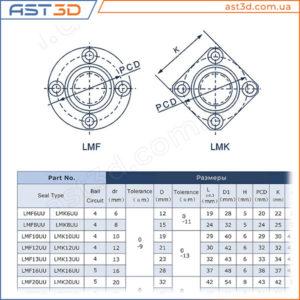 Линейные подшипники LMF и LMK (с фланцем) – Размеры и характеристики
