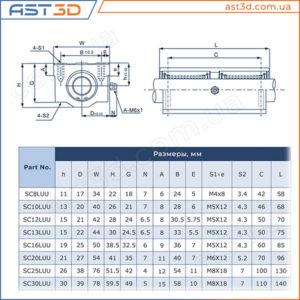 Линейные подшипники SC-L (длинные в корпусе) – Размеры и характеристики sc16luu sc12luu sc20luu