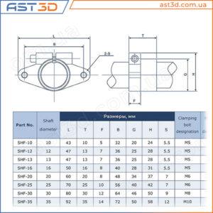Фланцевый фиксатор вала SHF – Размеры и характеристики концевой опоры shf-10 shf-12 shf-16 shf-20