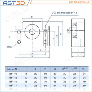 Подшипниковая опора ШВП BF – Размеры и характеристики (свободный конец винта) bf10 bf12 bf15