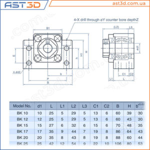 Подшипниковая опора ШВП BK – Размеры и характеристики (фиксируемый конец винта) bk10 bk12 bk15 bk17