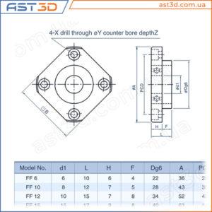 Подшипниковая опора FF ШВП винта – Размеры и характеристики (свободный конец) ff6 ff10 ff12 ff15