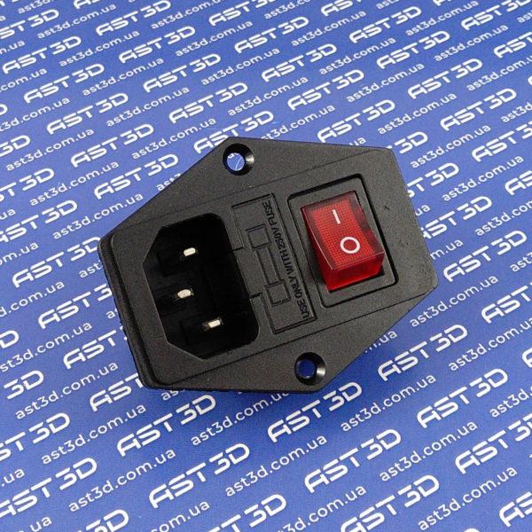 Разъем питания IEC320 C14 3pin-Папа с выключателем (в корпус на винтах) - AST3D Украина, Запорожье