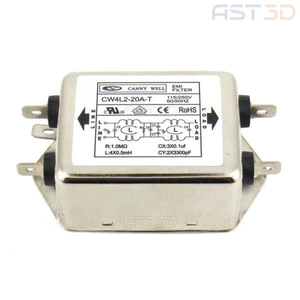 Фильтр ЭМИ 20А AC 2 фазы (подавление электромагнитного излучения, помех) купить Украина, Запорожье