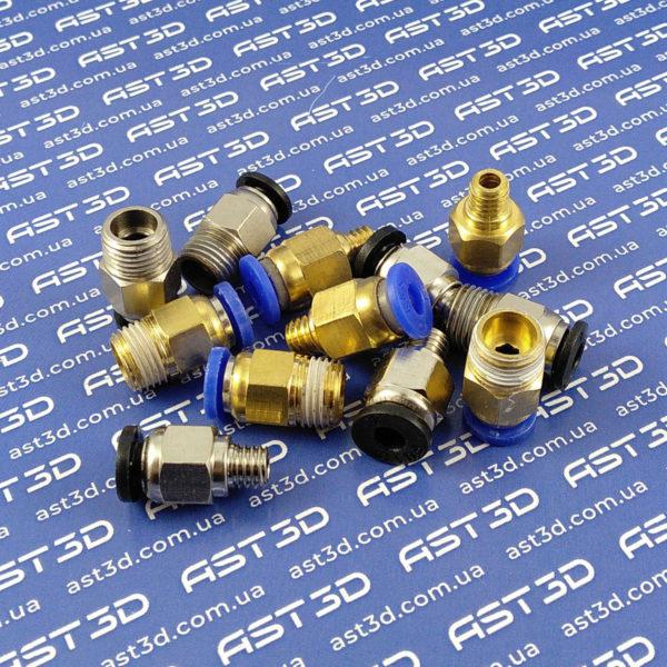 Штуцер PC4-M6 PC4-01 крепление PTFE трубки 3D принтера 4мм-М10-М6 (фитинг) - AST3D Украина, Запорожье