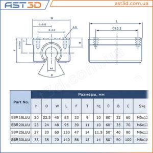 Линейные подшипники SBR (в корпусе) – Размеры и характеристики sbr16uu sbr20uu sbr25uu