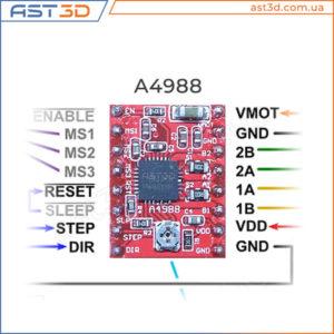 А4988 подключение, распиновка, описание (a4988), Драйвер шагового двигателя