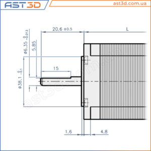 Nema 23 - Размеры и характеристики (чертеж шагового двигателя, таблица)